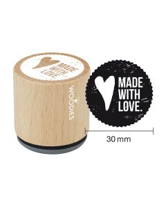 FR-Tampon Woodies - Made with love - DE-Woodies Motivstempel - Made with love