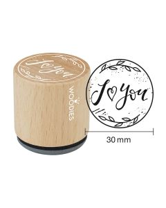 EN-Woodies Rubber Stamp - I love (heart) you - FR-I love (coeur) you