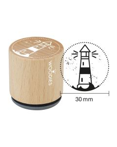 EN-Woodies Rubber Stamp - Lighthouse - DE-Woodies Motivstempel Leuchtturm - FR-Tampon Woodies - Phare