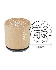 DE-Woodies Motivstempel - vierblättiges Kleeblatt - FR-Tampon Woodies - Trèfle à quatre feuilles