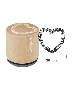 DE-Woodies Motivstempel - Herz Ornament - FR-Tampon Woodies - Ornement coeur