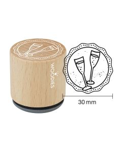 Woodies Rubber Stamp - Champagne glasses