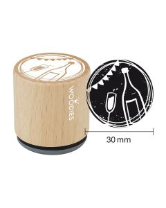 Woodies Rubber Stamp - Glass and bottle of chamapgne