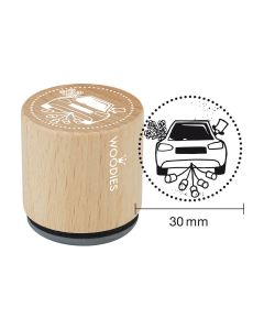Woodies Rubber Stamp - Car with tins