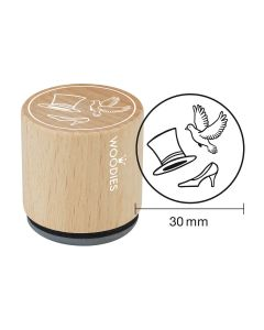 Woodies Rubber Stamp - Cylinder - dove - wedding shoe