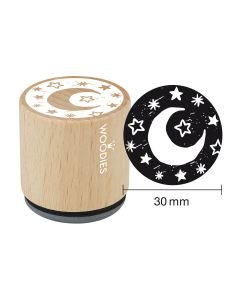 Woodies Rubber Stamp - Moon and stars