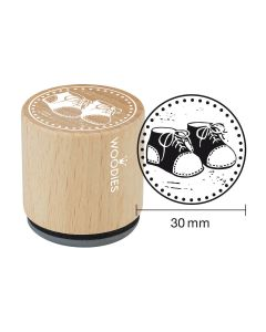 Woodies Rubber Stamp - Baby shoes