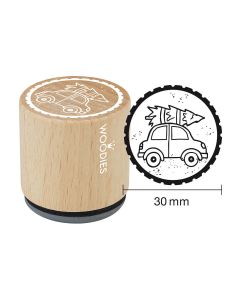 Woodies Rubber Stamp - Car with christmas tree