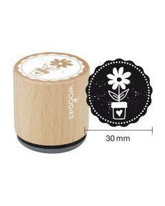 Woodies Rubber Stamp - Flower pot
