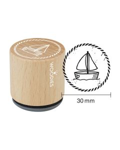 EN-Woodies Rubber Stamp - Sailboat - DE-Woodies Motivstempel Segelboot - FR-Tampon Woodies - Voilier