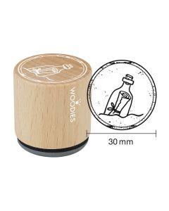EN-Woodies Rubber Stamp - Message in a bottle - DE-Woodies Motivstempel Flaschenpost - FR-Tampon Woodies - Bouteille à la mer