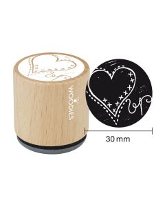 Woodies Rubber Stamp - Heart 2
