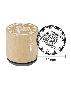 Woodies Rubber Stamp - Heart knitted