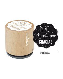 Woodies Rubber Stamp - MERCI - thank you - GRACIAS
