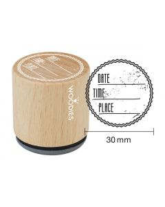 Woodies Rubber Stamp - Date, Time, Place