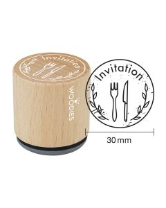 EN-Woodies Rubber Stamp - Invitation (cutlery) - FR-Invitation (couvert)