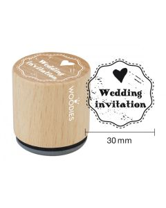 Woodies Rubber Stamp - Wedding Invitation (Heart)