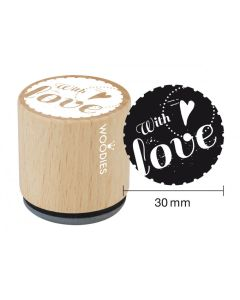 Woodies Rubber Stamp - With Love (heart)