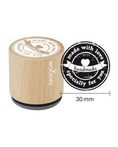Woodies Rubber Stamp - made with love specially for you