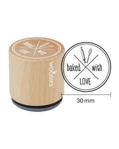 Woodies Rubber Stamp - Baked with love