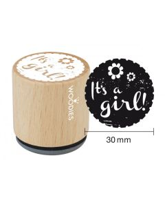 Woodies Rubber Stamp - It's a Girl!