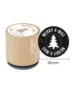 EN-Woodies Rubber Stamp - Merry Xmas - DE- Woodies Motivstempel Merry x-mas