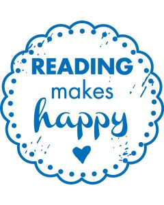 Woodies Rubber Stamp - READING makes happy
