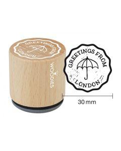 Woodies Rubber Stamp - London - Greetings, Umbrella