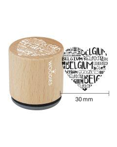 Woodies Rubber Stamp - Belgium - Heart Belgium
