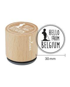 Woodies Rubber Stamp - Belgium - Hello from Belgium